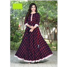 Fasdest Women/Ladies Long Full Flair Heavy Rayon Kurti /Gown - Fabric : Heavy RayonLength : Floor lengthType :Printed Full Flair Ideal For Function Frock Fashion, Indian Fashion Dresses, Indian Designer Outfits, Dress Neck Designs, Designs For Dresses, A Line Skirt Outfits, Cotton Gowns, Simple Gowns, Frock For Women