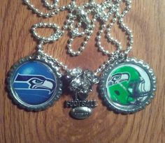 Seattle seahawks bottle cap necklace by LegacySportsJewelry on Etsy