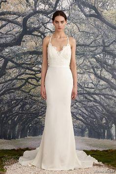 nicole miller spring 2016 bridal spagetti strap scalloped v neckline beaded corded lace sheath wedding dress blake -- Nicole Miller Bridal Spring 2016 Wedding Dresses