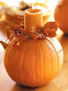 Fall Inspiration DIY... Love the candle on the pumpkin