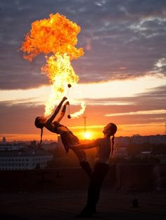 fire-poi spinning, acro-style!