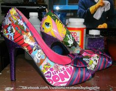 Old pair of heels turned into My Little Pony comic book heels.