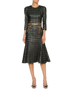 3/4-Sleeve Geometric Jacquard Cocktail Dress w/Embellished Waist by Dolce & Gabbana at Neiman Marcus.