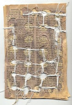 Connecting the gaps I. Book pages with yarn by Ines Seidel ellipse par projection. Mixed Media Collage, Collage Art, Altered Books, Art Journaling, Stitching On Paper, Textiles Sketchbook, A Level Art, Paperclay, Mixed Media