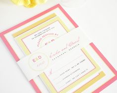 Pink and Orange Wedding Invitations with Yellow Accents. Modern Circle Logo Design!