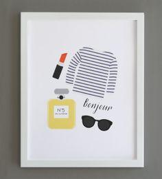Paris Art Print Bonjour. Arte de la pared por PeiDesign en Etsy