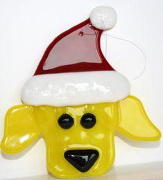 Fused glass dog ornament
