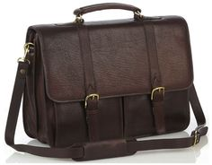 Briefcase with two front pockets - Brown - In stock - Front View