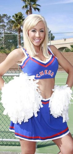 Blonde busty cheerleader