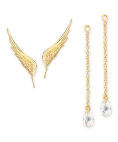 Gold & Cubic Zirconia Wing Ear Pins® & Enhancer™ Earrings #zulily #zulilyfinds