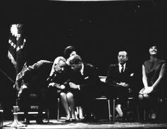 Vintage 1964, President Lyndon Johnson confers with Robert F. Kennedy over Lady Bird's lap, NYC, www.RevWill.com