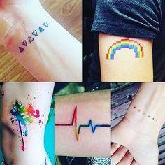 Found this and thought it was cute + wanna get one of these tattoos when im olde… Fand dies und fand es süß + möchte eines dieser Tattoos, wenn ich älter bin Trendy Tattoos, Mini Tattoos, Body Art Tattoos, Small Tattoos, Tattoos For Women, Tatoos, Stolz Tattoo, Tattoo Designs, Rainbow Tattoos