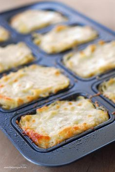 Mini Baked Spaghetti Loaves (I could do this in the Pampered Chef brownie pan...)