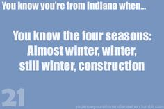 Except not this year...fall, almost almost winter, almost winter, construction.