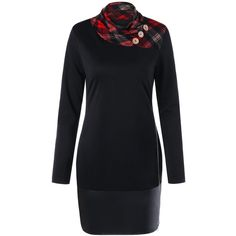 Black 2xl Plaid Zip Side Long Sleeve Fitted Dress (225 CZK) ❤ liked on Polyvore featuring dresses, long sleeve zipper dress, long sleeve fitted dress, tight dresses, tight long sleeve dress and long sleeve dress
