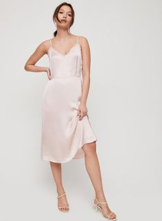 Your skin is cheering rn. This is a midi-length, lingerie-inspired dress made with a silky-soft, lustrous fabric from Japan. Tight Dresses, Nice Dresses, Dresses With Sleeves, Black Bodycon Dress, Latest Dress, Night Gown, Flare Dress, Dress Making, Fit And Flare