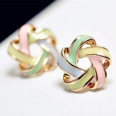2015 New Fashion Novel Jewelry Color Stripe Earrings For Women Trendy Brincos Pequenos Stud Earrings E259-in Stud Earrings from Jewelry & Accessories on Aliexpress.com | Alibaba Group