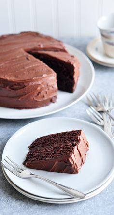 Sour Cream Chocolate Cake. Adapted from Nigella Lawson | eatlittlebird.com