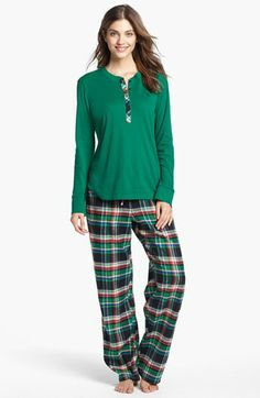 Lauren Ralph Lauren Knit & Flannel Pajamas available at #Nordstrom