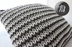 Handmade knitted pillow white, gray and dark gray