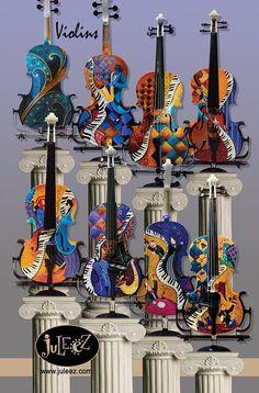 Hand Painted Violin Musical Instrument Violin Art