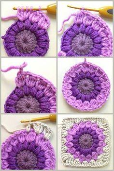 Transcendent Crochet a Solid Granny Square Ideas. Inconceivable Crochet a Solid Granny Square Ideas. Crochet Squares, Point Granny Au Crochet, Crochet Motifs, Crochet Blocks, Crochet Stitches, Crochet Mandala, Crochet Symbols, Tunisian Crochet, Blanket Crochet