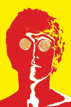 A pop art head shot of John Lennon (1940 - 1980), British musician, singer-songwriter, and founding member of The Beatles. - FREE Shipping!!! (No additional costs) - 36 x 24 (inches) paper reproductio