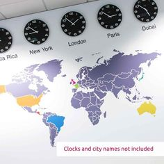 World Map Infographic Wall Sticker in Office by Vinyl Impression