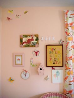 Adorable Wall and Drapes in this Pink Girl Room