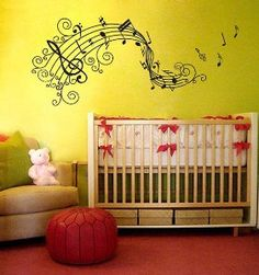 Scroll musical staff vinyl wall decal.  Great for the dorm wall!