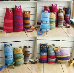 Fab cats made from recycled sweaters by sankowo
