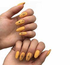 yellow nails Nice yellow gel nails with black details Cute Acrylic Nails, Matte Nails, Fun Nails, Stiletto Nails, Glitter Nails, Coffin Nails, Yellow Nails Design, Yellow Nail Art, Minimalist Nails