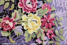 Vintage Home Shop - Superb Roses and Lilac 1940s Wool Rug: www.vintage-home.co.uk