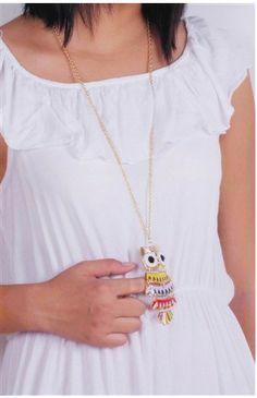 Trendy Multicolor Owl Alloy Oil Long Chain Necklaces Pendants