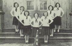 The 1947 cheerleaders of Phillips High School in Phillips, Maine.