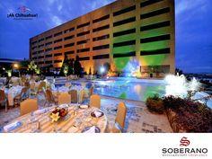 En el HOTEL SOBERANO CHIHUAHUA, les ofrecemos a nuestros huéspedes habitaciones confortables y con una lujosa decoración clásica, equipadas con todos los servicios que usted necesita. Contamos con alberca, centro de negocios, salones para reuniones o banquetes, dos excelentes restaurantes, tabaquería y spa. Estamos en Barrancas del Cobre #3211 Fraccionamiento Barrancas en Chihuahua. Reservaciones al teléfono (614) 429 2929  y USA 01 800 363 5997 o www.hotelsoberano.com