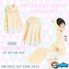 Hey guys, any idea to have fun  on Halloween🎃 ?  Now we're giving away a Fox Cape to Three lucky friends! How to win 👻 :  1. Follow @Cospicky 2. Like and Repin this pic  3. Finish above and enter here:  https://goo.gl/OY0Nq3 4.Ends on Oct 23rd .2016  During this period ,Foxcape to enjoy 15$ off 120$   Good luck everyone <33