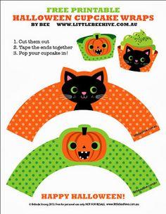 FREE printable halloween cup cake wraps on We Love to Illustrate: Halloween Fun