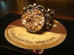 Steampunk Pink Gold Druzy / Drusy Filigree Ring - Rings on Wanelo