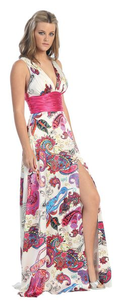 Asian/Indian Print Dress Formal Prom Gown Empire Waist Side Slit (2 Colors Available)
