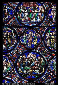 Stained glass window motif, Cathedral of Our Lady of Chartres. France