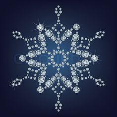 Snowflake Made Diamonds Stock Illustration 205785307 Snowflake Jewelry, Snowflake Photos, Snowflake Designs, Snowflake Ornaments, Christmas Snowflakes, Beaded Ornaments, Christmas Ornaments, Dot Art Painting, Mandala Painting