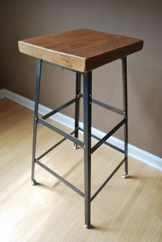 Reclaimed Wood and Steel Industrial Shop Stool. Made in Chicago. Choose wood finish and height - table, counter, or bar height. Custom Bar Stools, Tall Bar Stools, Rustic Stools, Wood Bar Stools, Counter Height Stools, Wood Counter, Table Height, Shop Stools, Contemporary Bar Stools