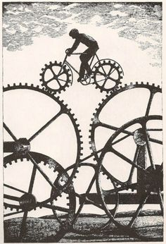 Cardboard Cutout Sundown: Op-ed Bicycle Safety, Bicycle Art, Bicycle Design, Bike Drawing, Bike Illustration, Bike Poster, Cycling Art, Dieselpunk, Art Forms