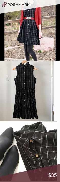 ModCloth Fleet Collection plaid shirt dress Darling black plaid dress from ModCloth's Fleet Collection! Button-down front, has side pockets❤ and full skirt. Can be worn alone or paired with boots and a cardigan for the PERFECT fall outfit! Excellent condition! Thanks for looking! Modcloth Dresses