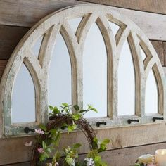 Farmhouse Fir Wood Mirror With Hooks