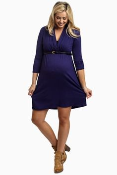 Navy 3/4 Sleeve Belted Maternity/Nursing Dress