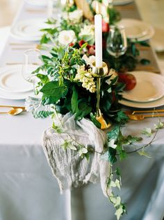 gauze table runner - photo by Jessica Gold Photography http://ruffledblog.com/dusty-blue-and-cranberry-wedding-inspiration