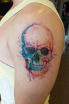 Rainbow Water Color Skull Tattoo