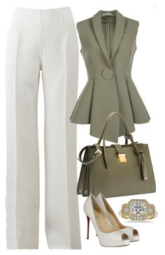 Green, White & Gold by carolineas on Polyvore featuring polyvore, fashion, style, Givenchy, Michael Kors, Christian Louboutin, Miu Miu, Allurez and clothing #miumiudress
